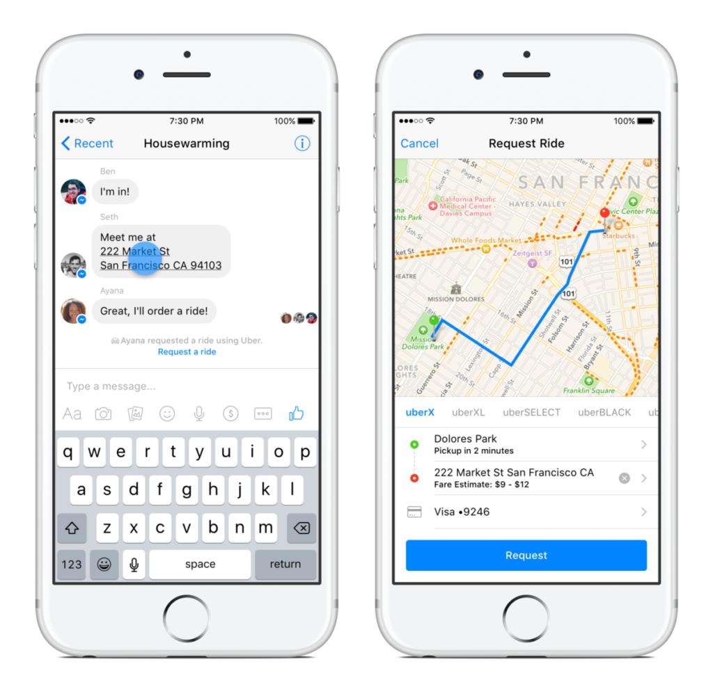 facebook messenger uber integration