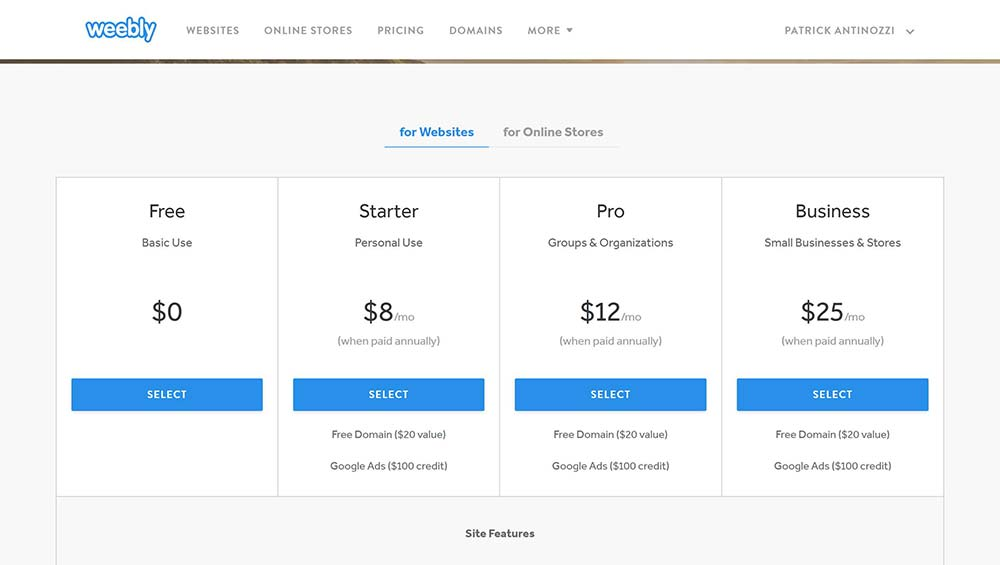 weebly pricing 1 1