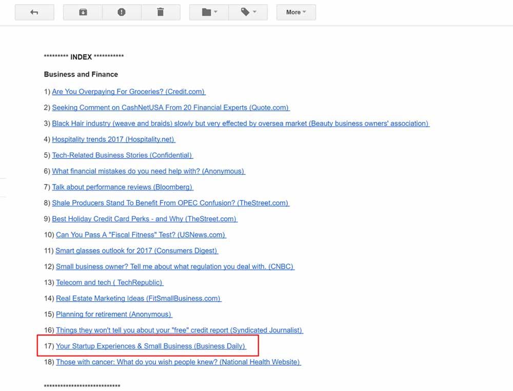haro email summary 1