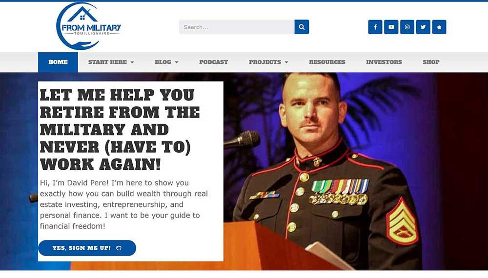 frommilitarytomillionaire custom blog design example 1