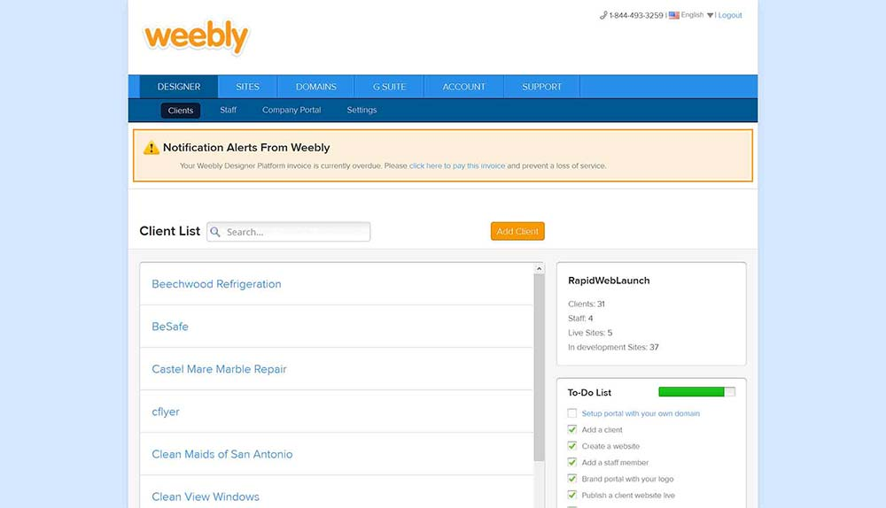 weebly dashboard 1