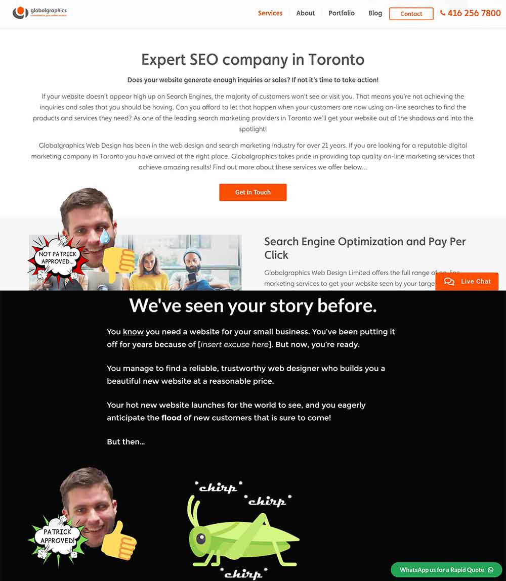 website copywriting comparisons 1