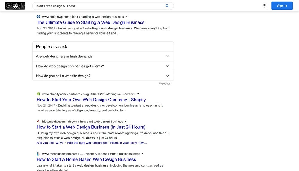 start a web design business google results 1