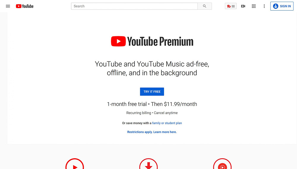 youtube premium streaming service 1