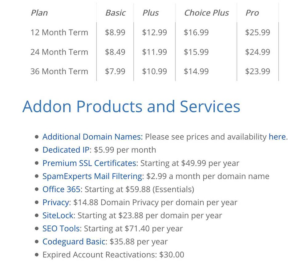 bluehost pricing fineprint 1